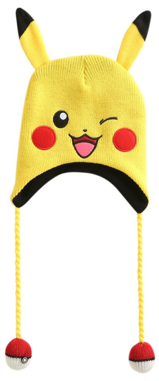 5db118c5411 Pokemon Pikachu Big Face Laplander Beanie Hat Winking Bioworld - ToyWiz
