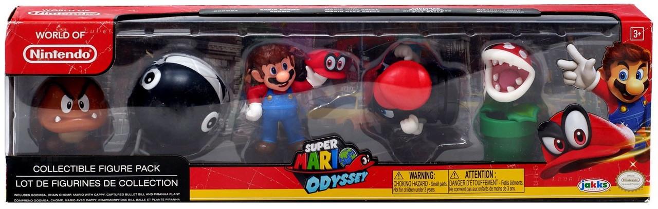 World of Nintendo Super Mario Odyssey Mario with Cappy, Piranha Plant,  Captured Bullet Bill, Goomba & Chain Chomp 2 5-Inch Mini Figure 5-Pack