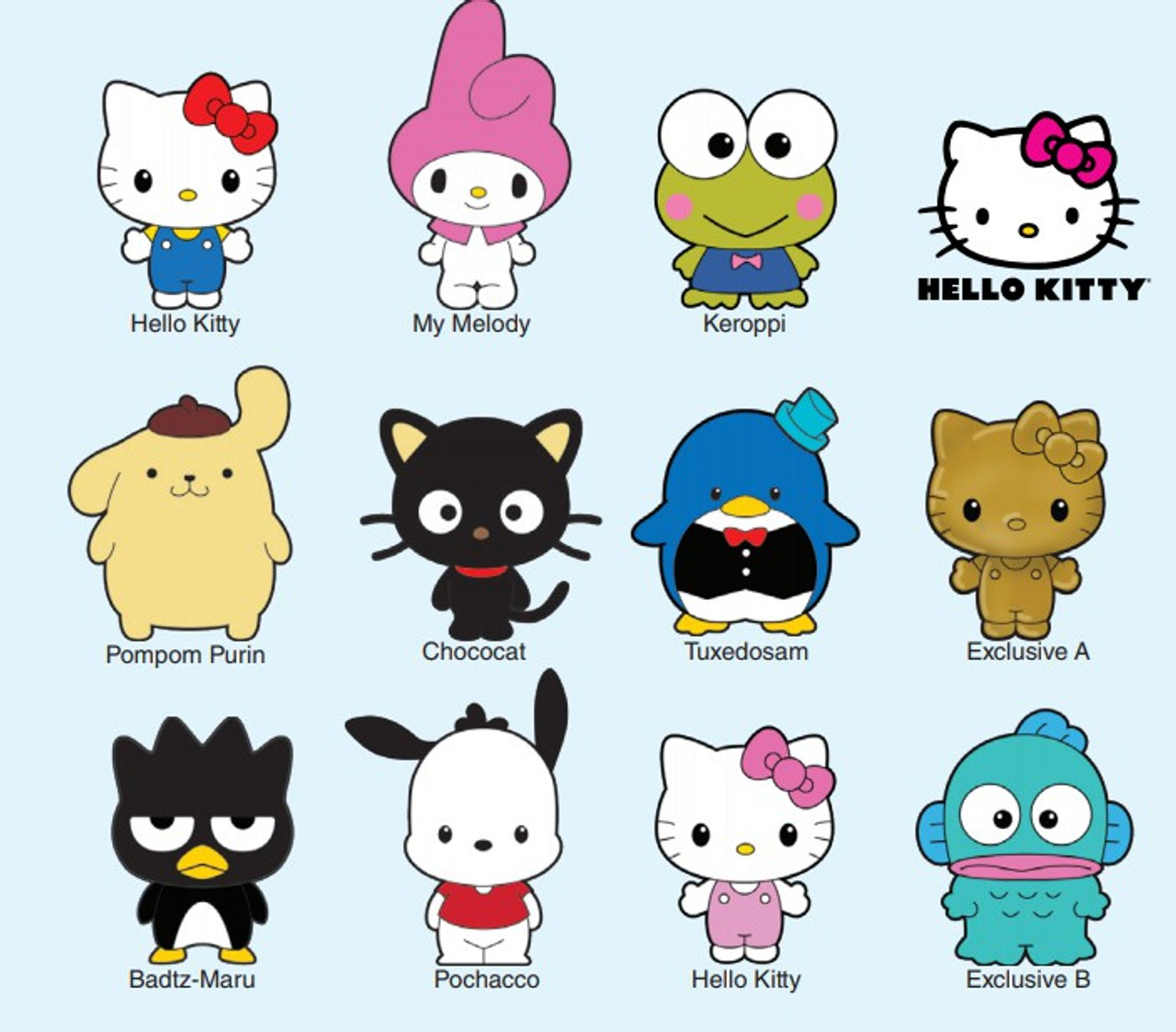 Hello Kitty 3d Figural Foam Bag Clip Hello Kitty Friends Mystery