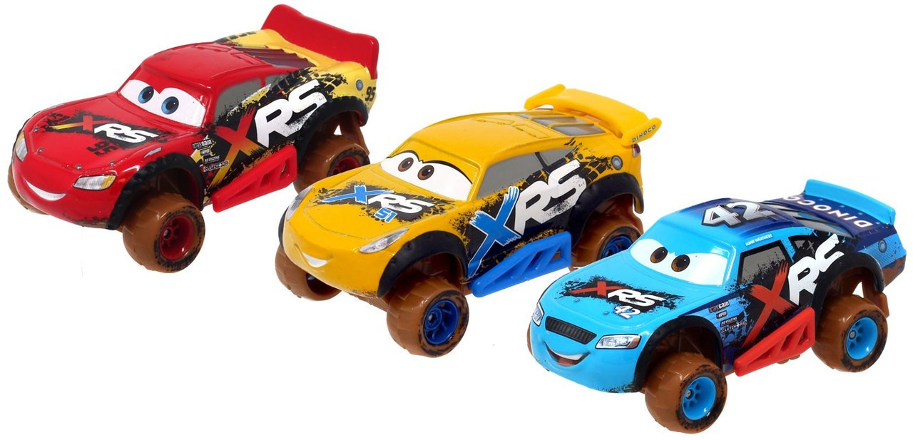 Disney Pixar Cars Xrs Mud Racing Lightning Mcqueen Cruz Ramirez Cal