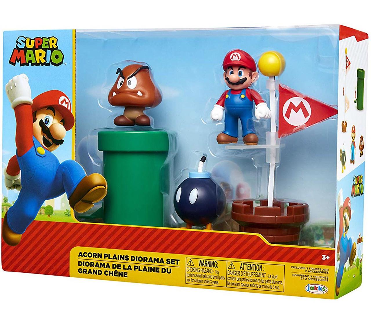 World of Nintendo Super Mario Classic Acorn Plains 2 5-Inch Diorama Gift  Set [Bob-Omb, Mario & Goomba]
