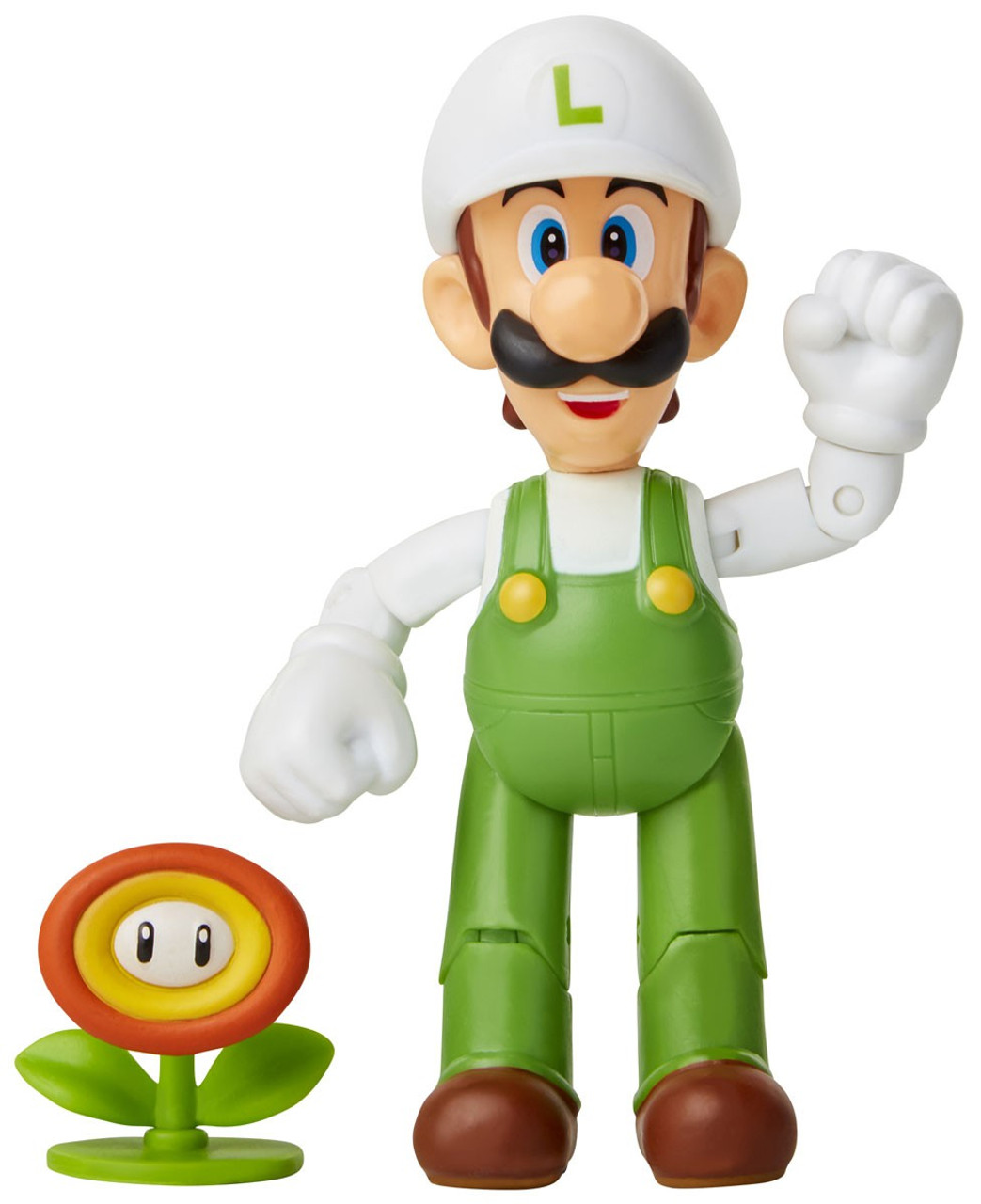 Super Mario Fire Luigi 4 Action Figure With Fire Flower Damaged