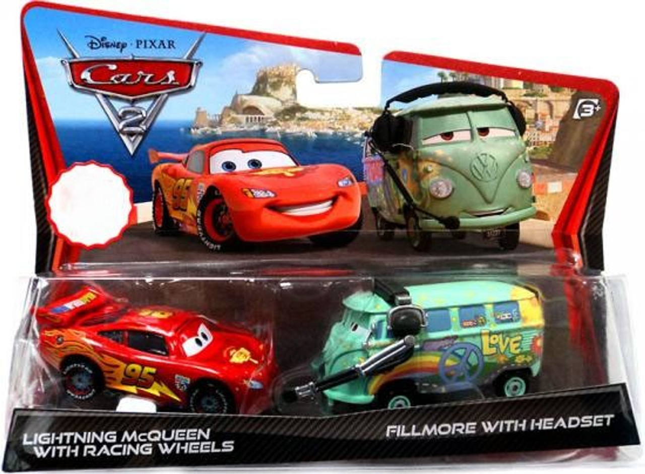 Disney Pixar Cars Cars 2 Lightning Mcqueen With Racing Wheels Fillmore With Headset Exclusive Diecast Car 2 Pack Damaged Package