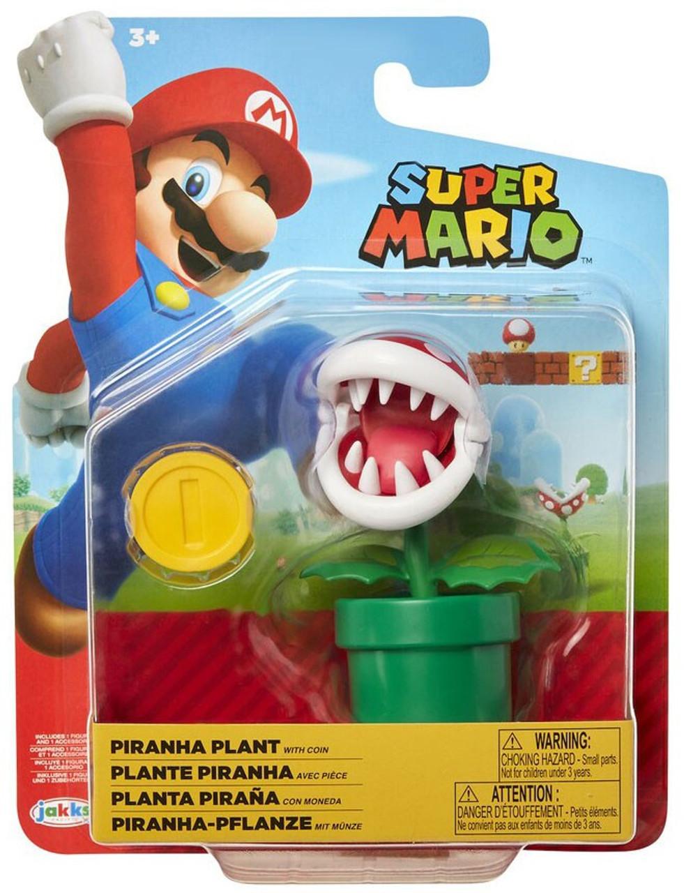 """2019 Jakks Pacific 4/"""" Super Mario Piranha Plant Avec Coin Figure Bros-NEUF!"""