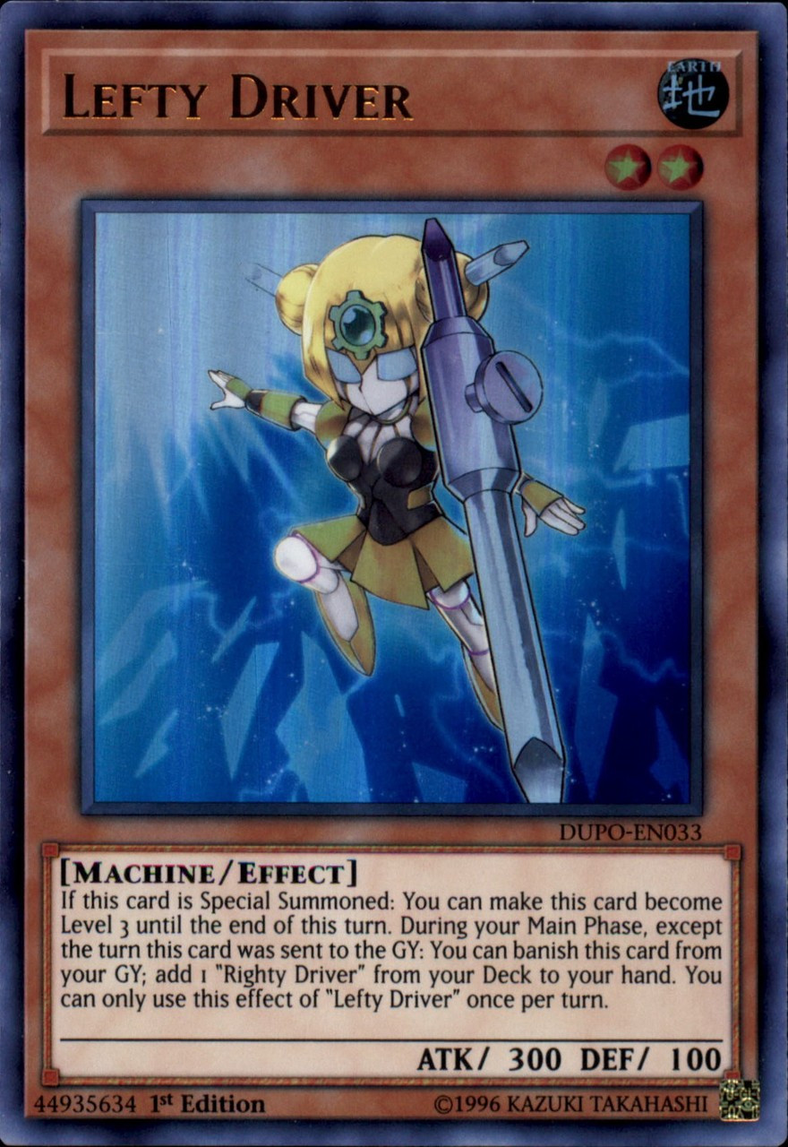 1st Edition Righty Driver Ultra Rare Card Dupo-en032 Yu-gi-oh Duel Power