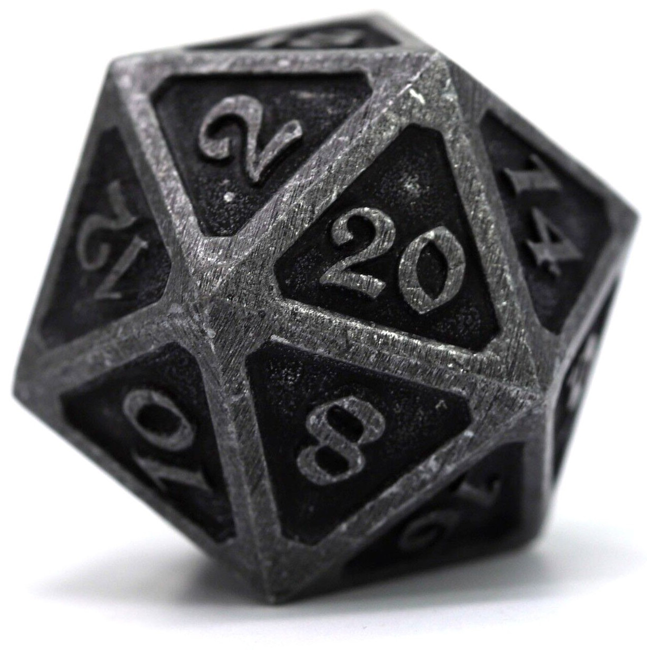 Mythica Dire Dark Iron D20 Metal Polyhedral Die