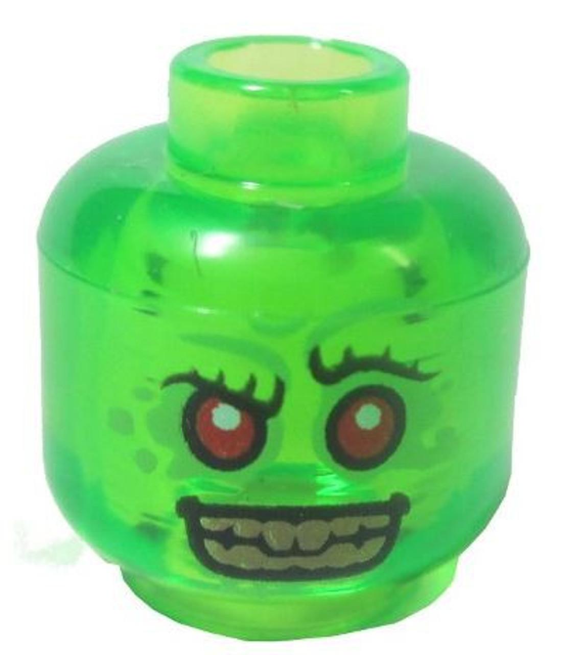 Lego 20 New Sand Green Minifigure Head Alien with Red Eyes Dark Green Lips