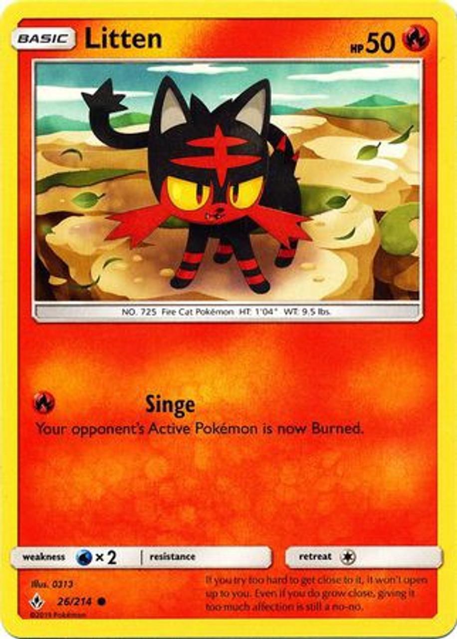 Pokemon Sun Moon Unbroken Bonds Single Card Common Litten 26 Toywiz