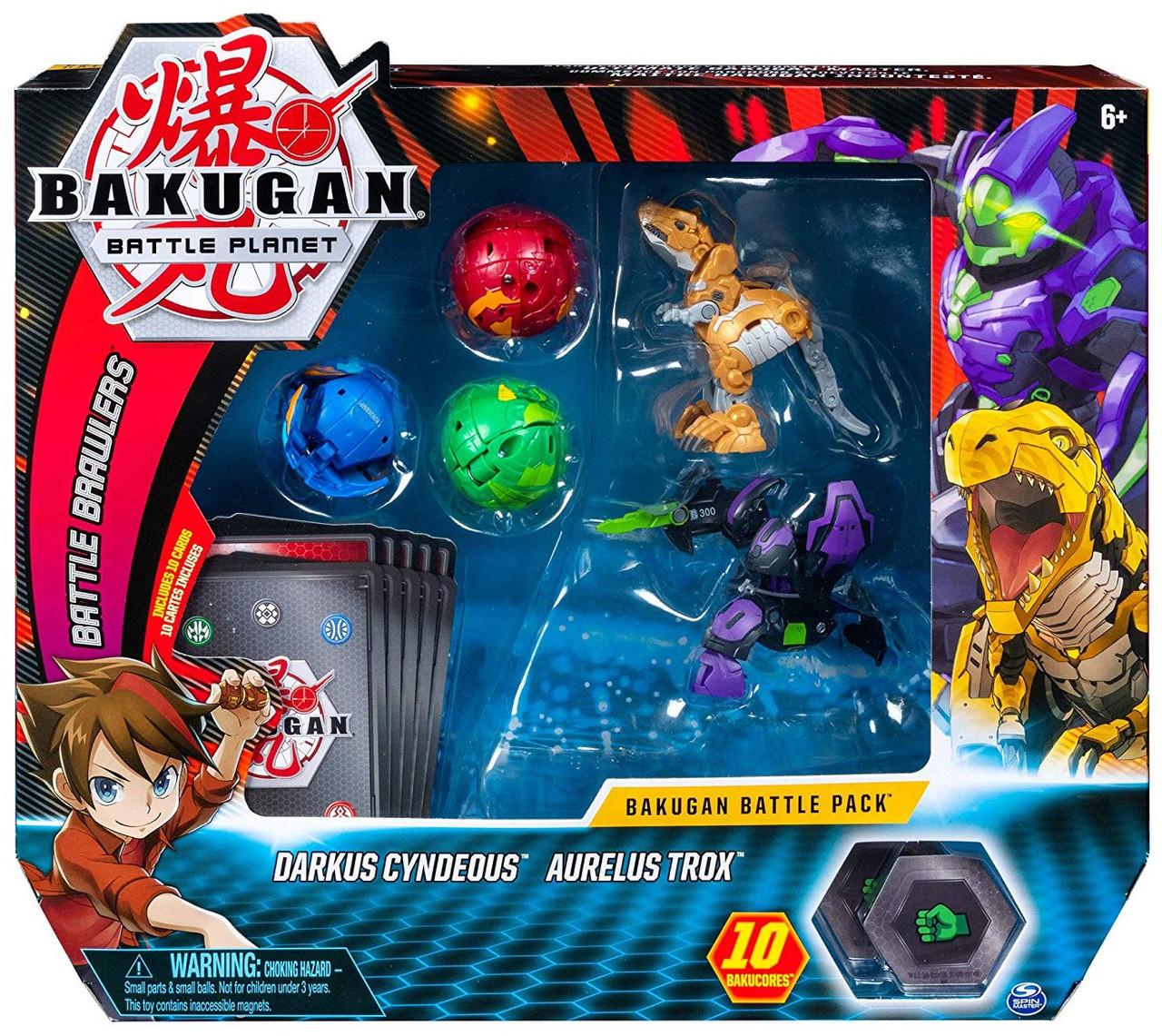 Bakugan Battle Planet Battle Brawlers Darkus Cyndeous & Aurelus Trox Battle  Pack