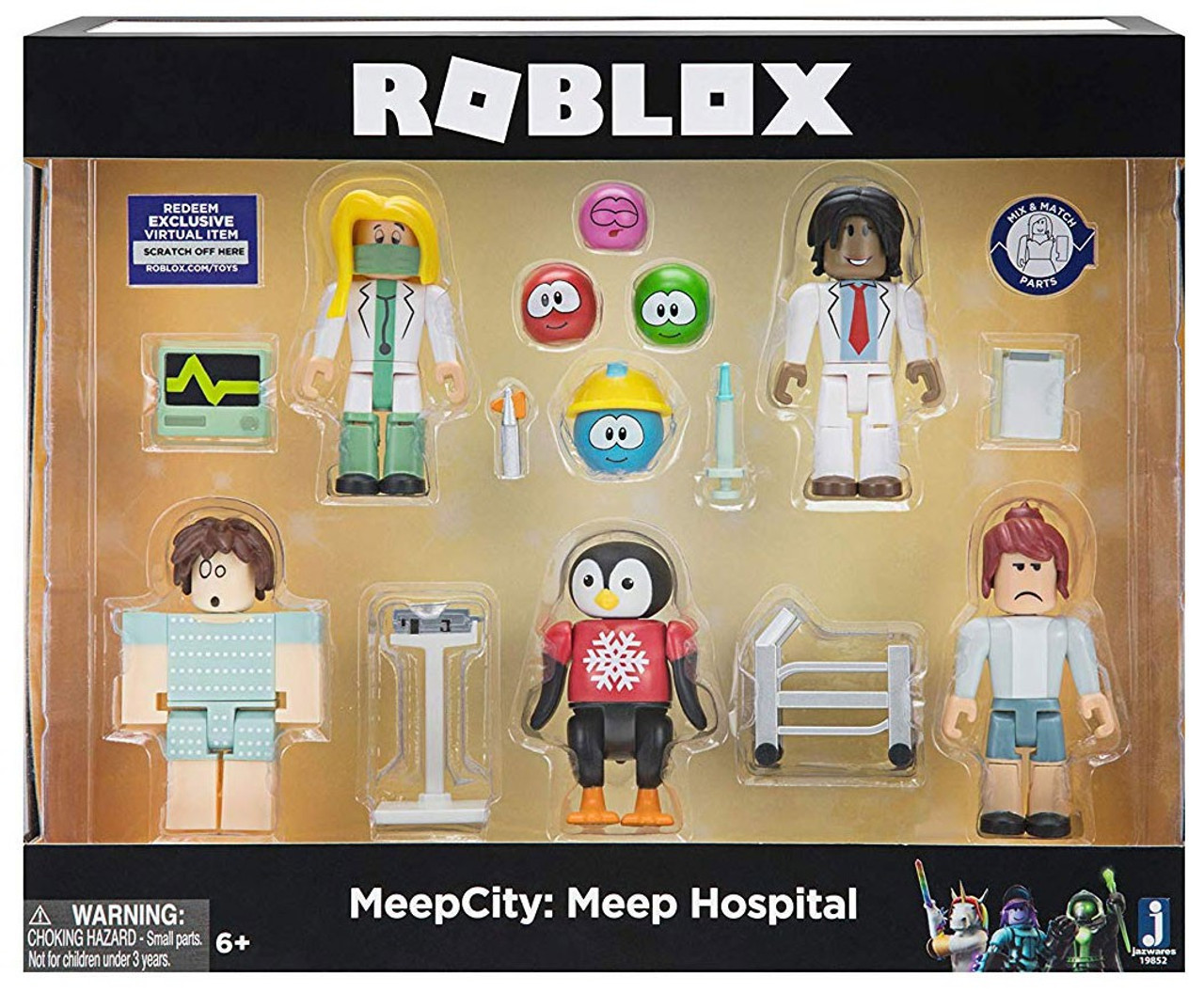 Brand New Citizens Of Roblox Toy Figures With Virtual Roblox Meepcity Meep Hospital 3 Figure 5 Pack Set Jazwares Toywiz