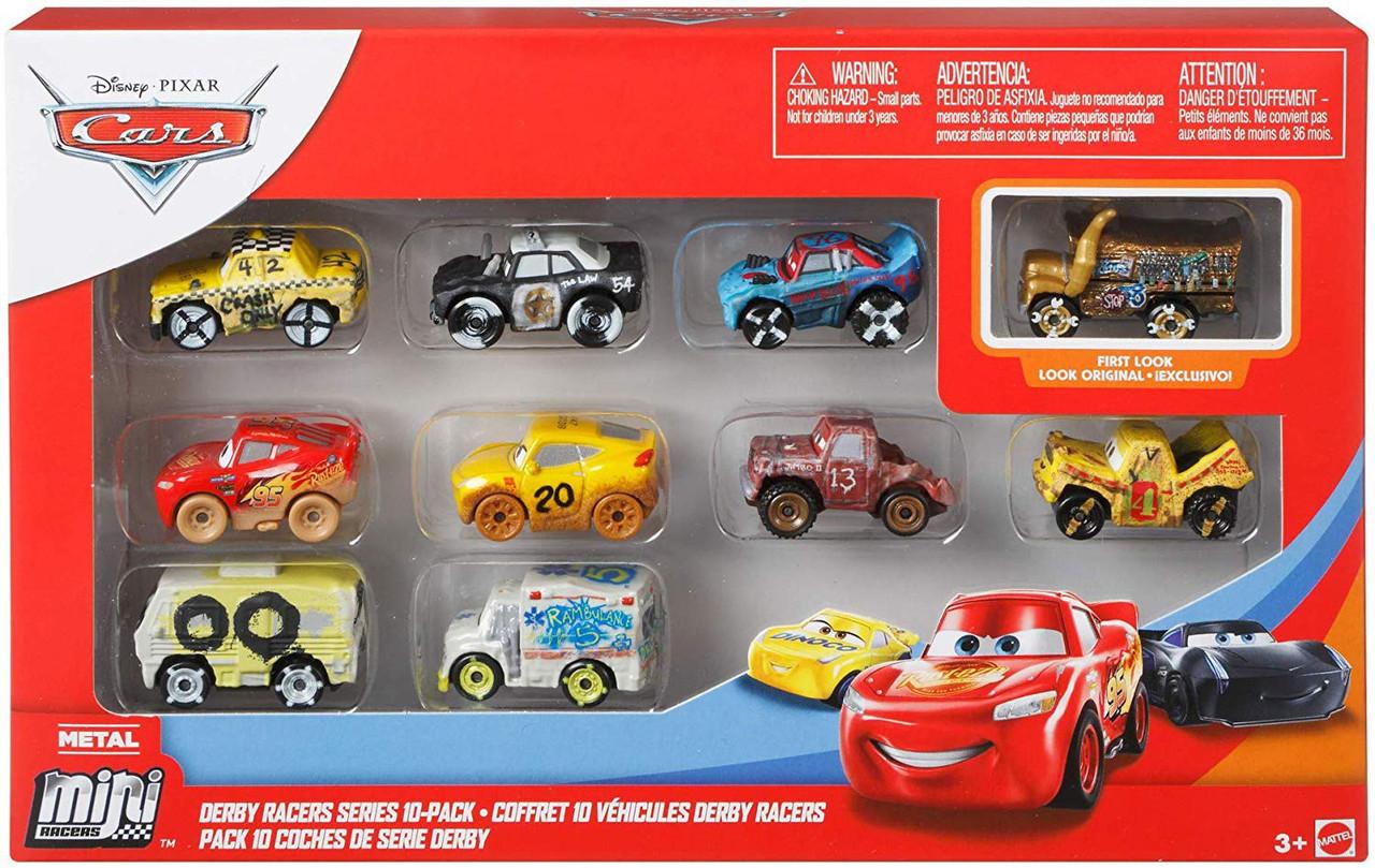 Disney Pixar Cars Die Cast Mini Racers Derby Series 10 Pack Mattel