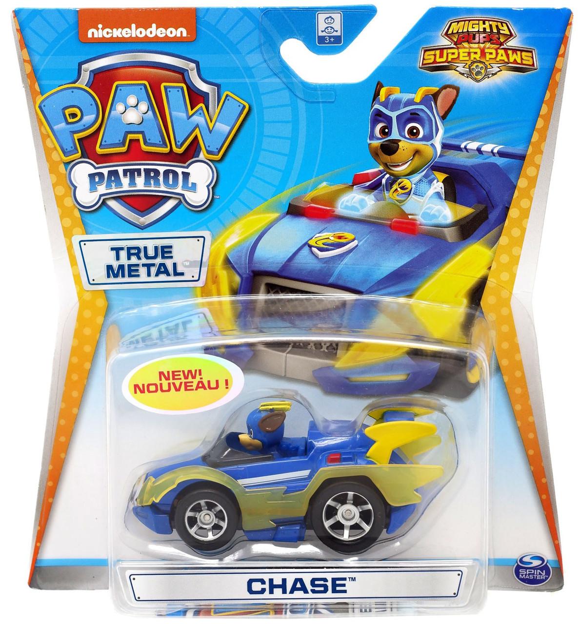 Paw Patrol Mighty Pups Super Paws True Metal Chase Diecast Car [Mighty Pups  Super Paws]
