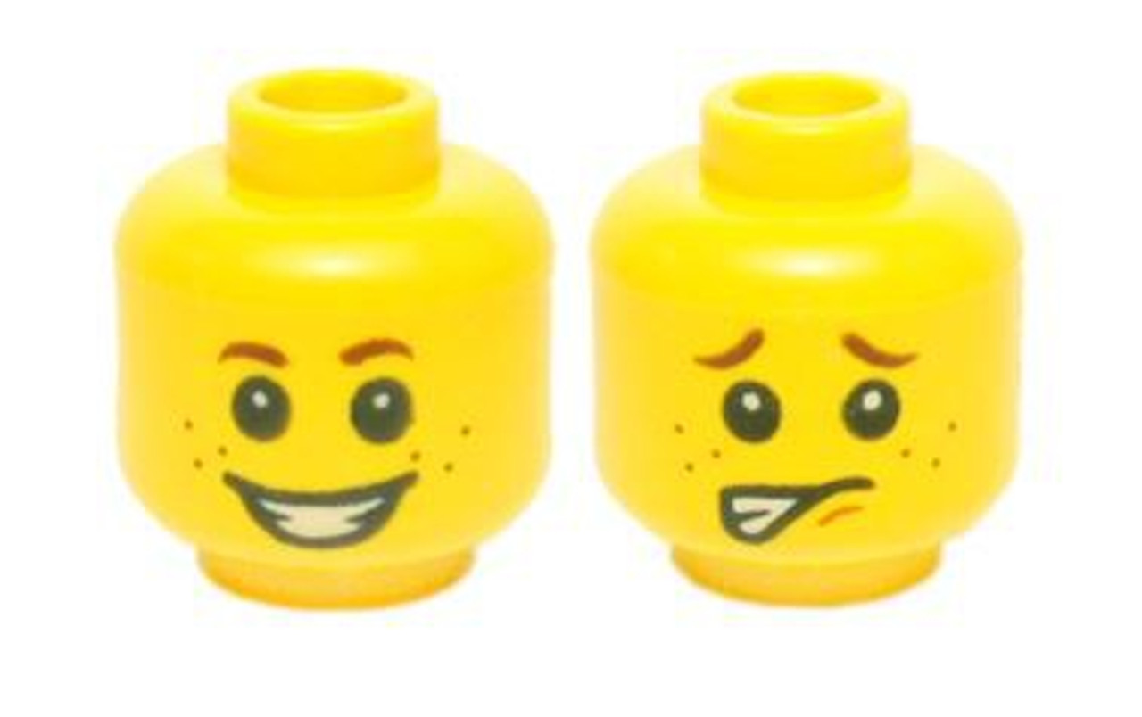 LEGO NEW YELLOW MINIFIGURE HEAD SMILE GRIN DUAL SIDED WITH SURPRISED LOOK BACK