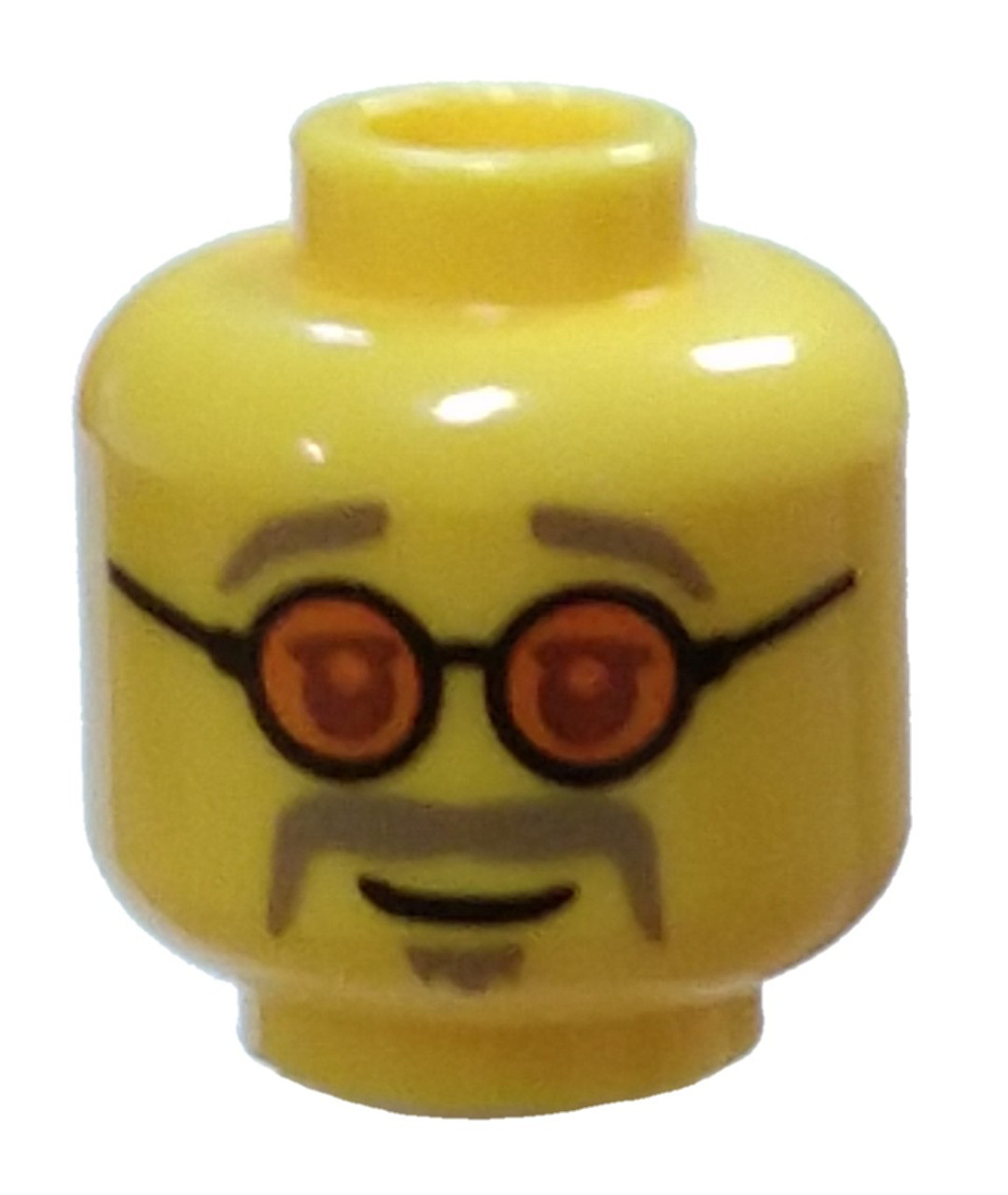 Lego New Yellow Minifigure Head Moustache Dark Tan Thin Goatee Wide Smile
