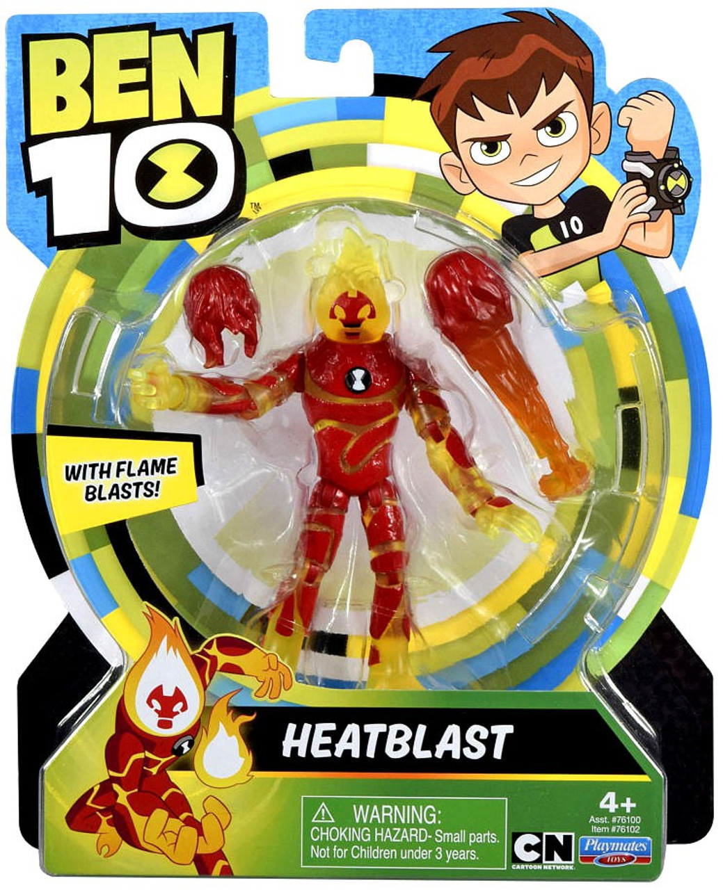 New BEN 10 HEAT BLAST Action Figure With Flame Blasts PLAYMATES TOYS J