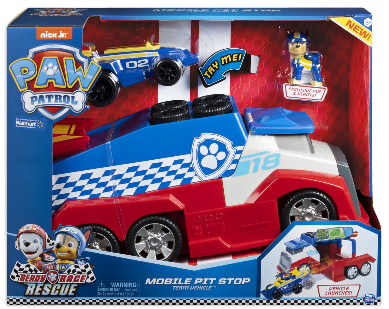 Paw Patrol Ready Race Rescue Team Vehicle Mobile Pit Stop Vehicle Playset