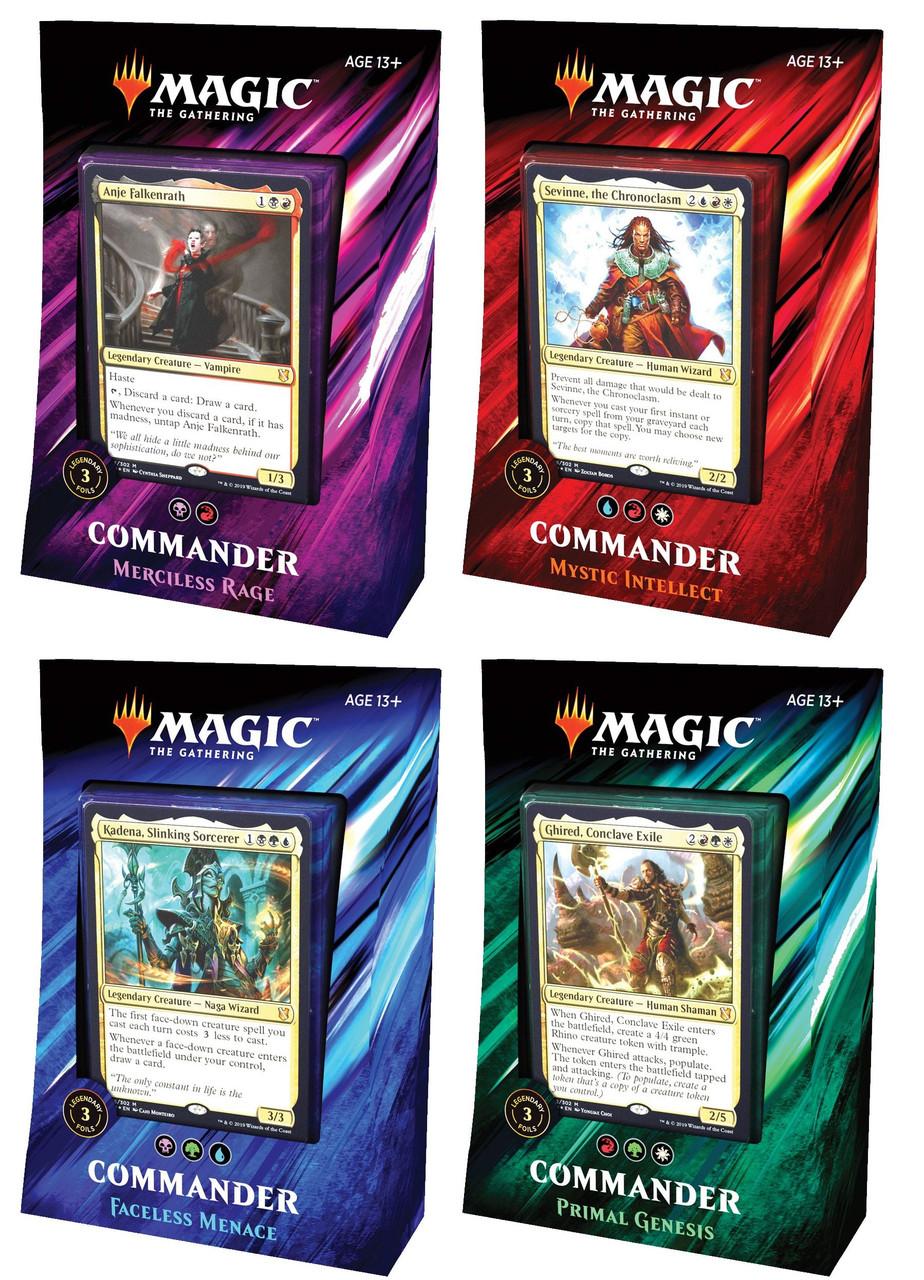 MtG Commander 2019 Set of 4 Decks [Primal Genesis, Faceless Menace,Mystic  Intellect, & Merciless Rage]
