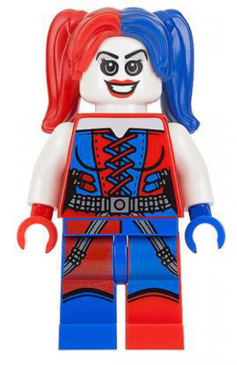 Lego Dc Super Heroes Batman Ii Harley Quinn Minifigure Red And Blue Pigtails Loose Toywiz