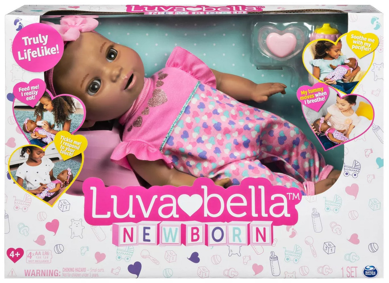 LuvaBella Interactive Doll African American Dark Brown Hair Girl by Spin Master