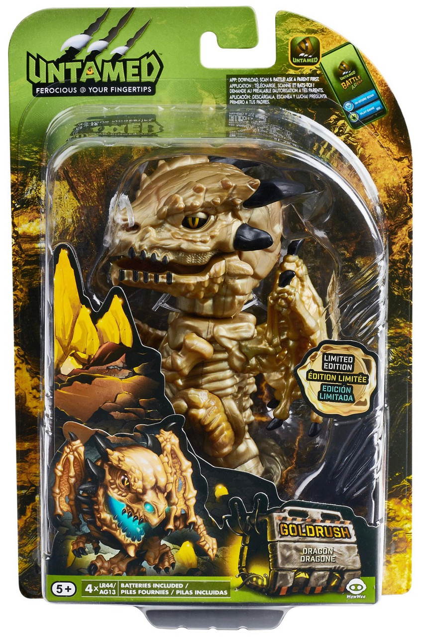 NEW WowWee Fingerlings Untamed Limited Edition Gold Rush Golden Dragon Skeleton