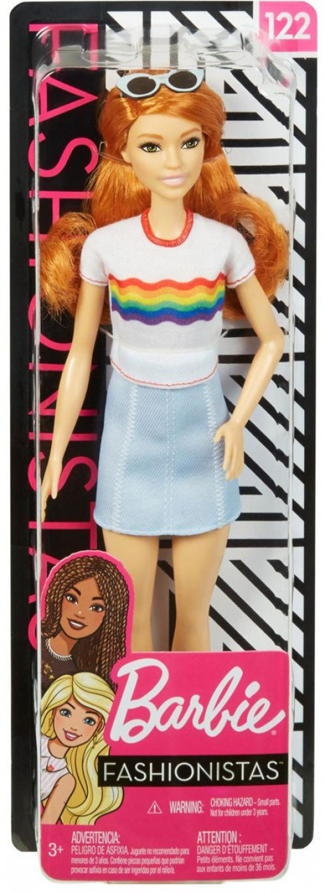 NEW  White W// RED TRIM RAINBOW  T-SHIRT for  Barbie doll