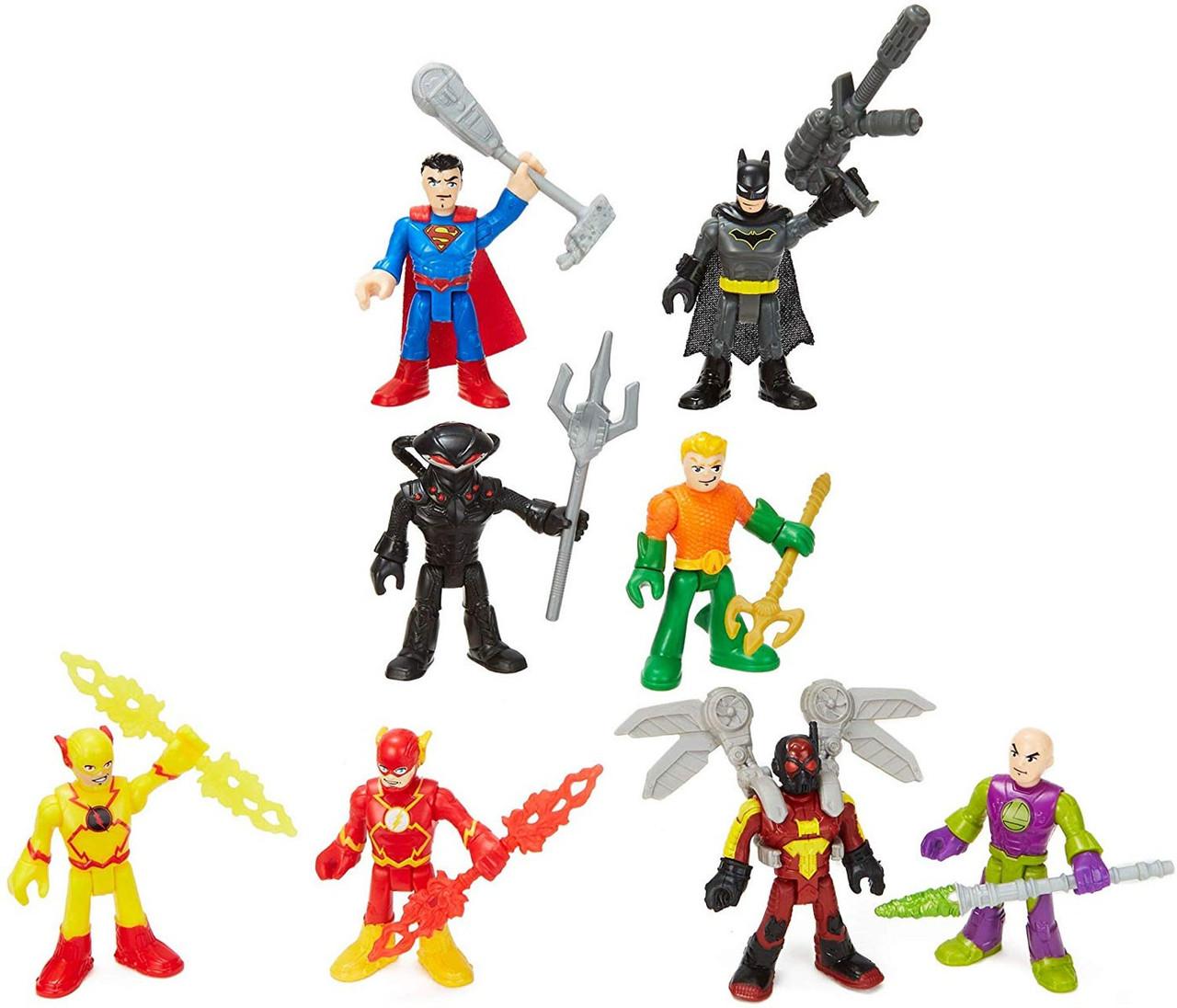Fisher Price Dc Super Friends Imaginext Super Hero Showdown Superman Lex Luthor Batman Firefly Aquaman Flash Black Manta Reverse Flash Exclusive 3 Figure 8 Pack Set Toywiz