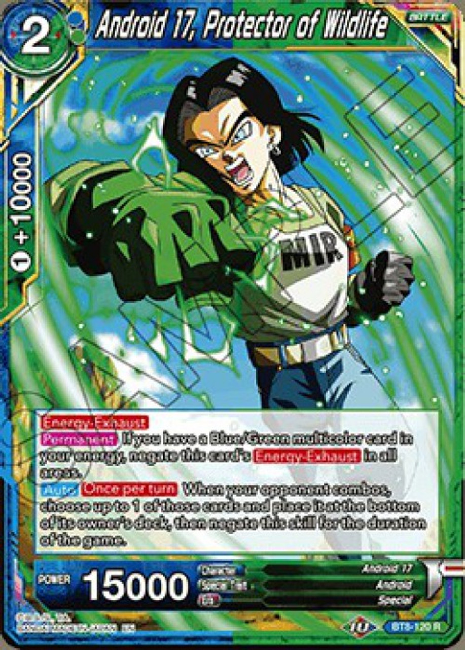 Dragon Ball Super Collectible Card Game Malicious Machinations Single Card Rare Android 17 Protector Of Wildlife Bt8 120 Toywiz