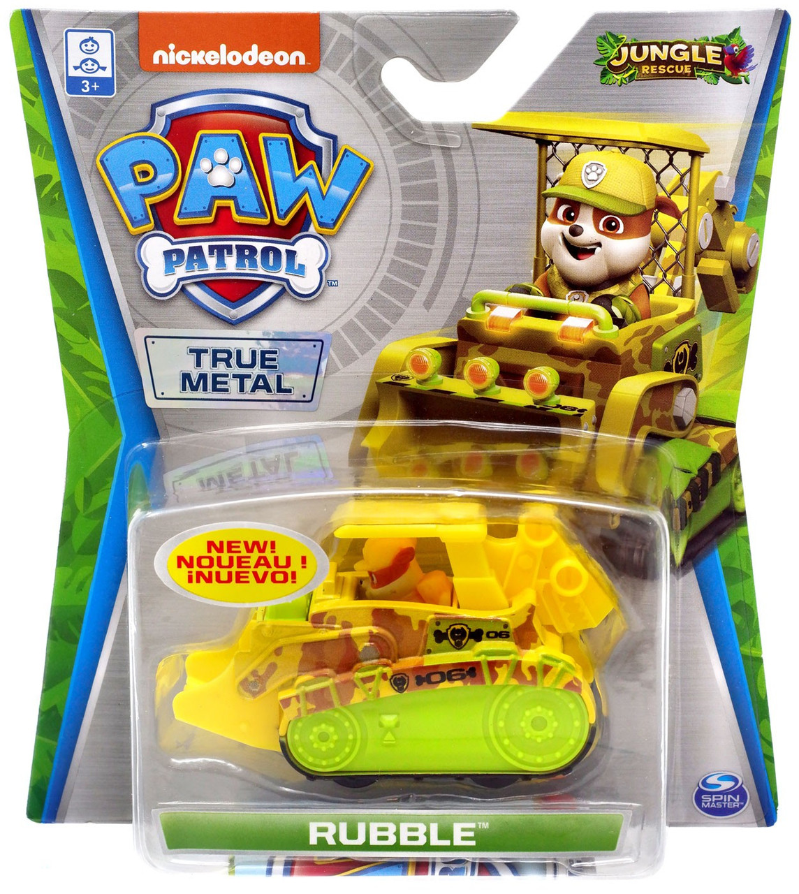 Paw Patrol Jungle Rescue True Metal Rubble Diecast Car Jungle Rescue Spin Master Toywiz