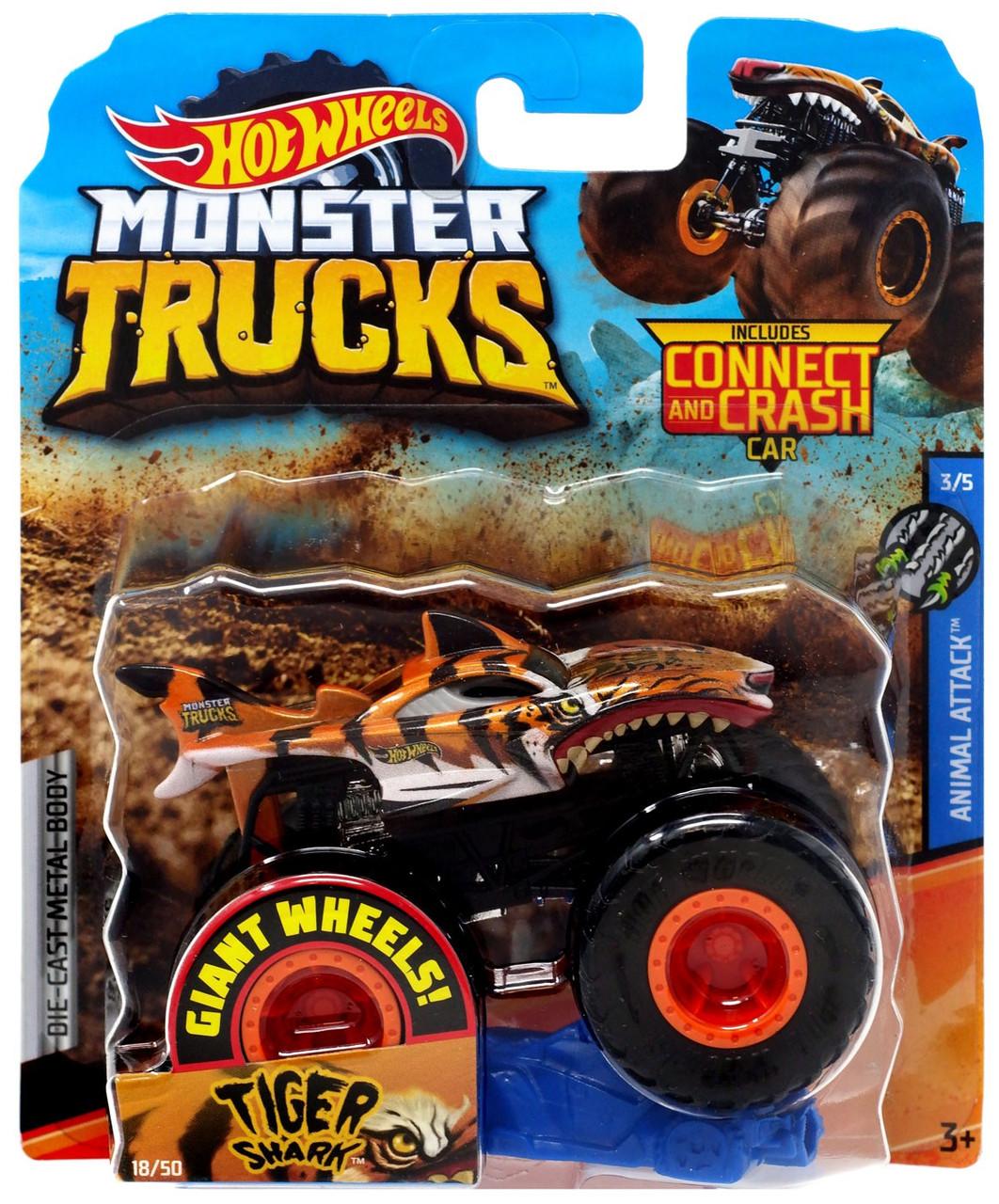 Hot Wheels Monster Trucks Animal Attack Tiger Shark 164 Diecast Car 35 Mattel Toys Toywiz