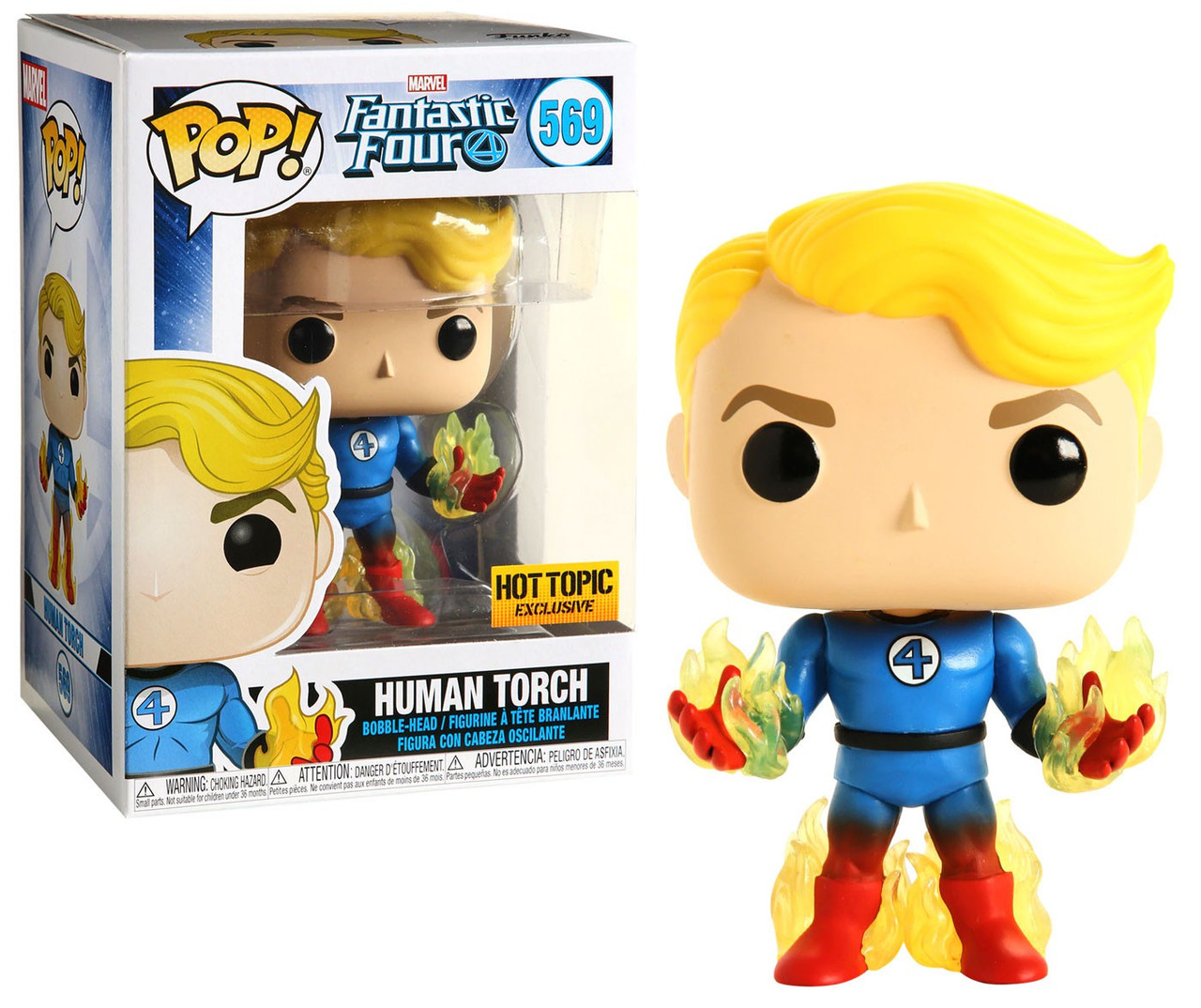Funko Marvel Fantastic Four POP Marvel Human Torch Exclusive Vinyl ...