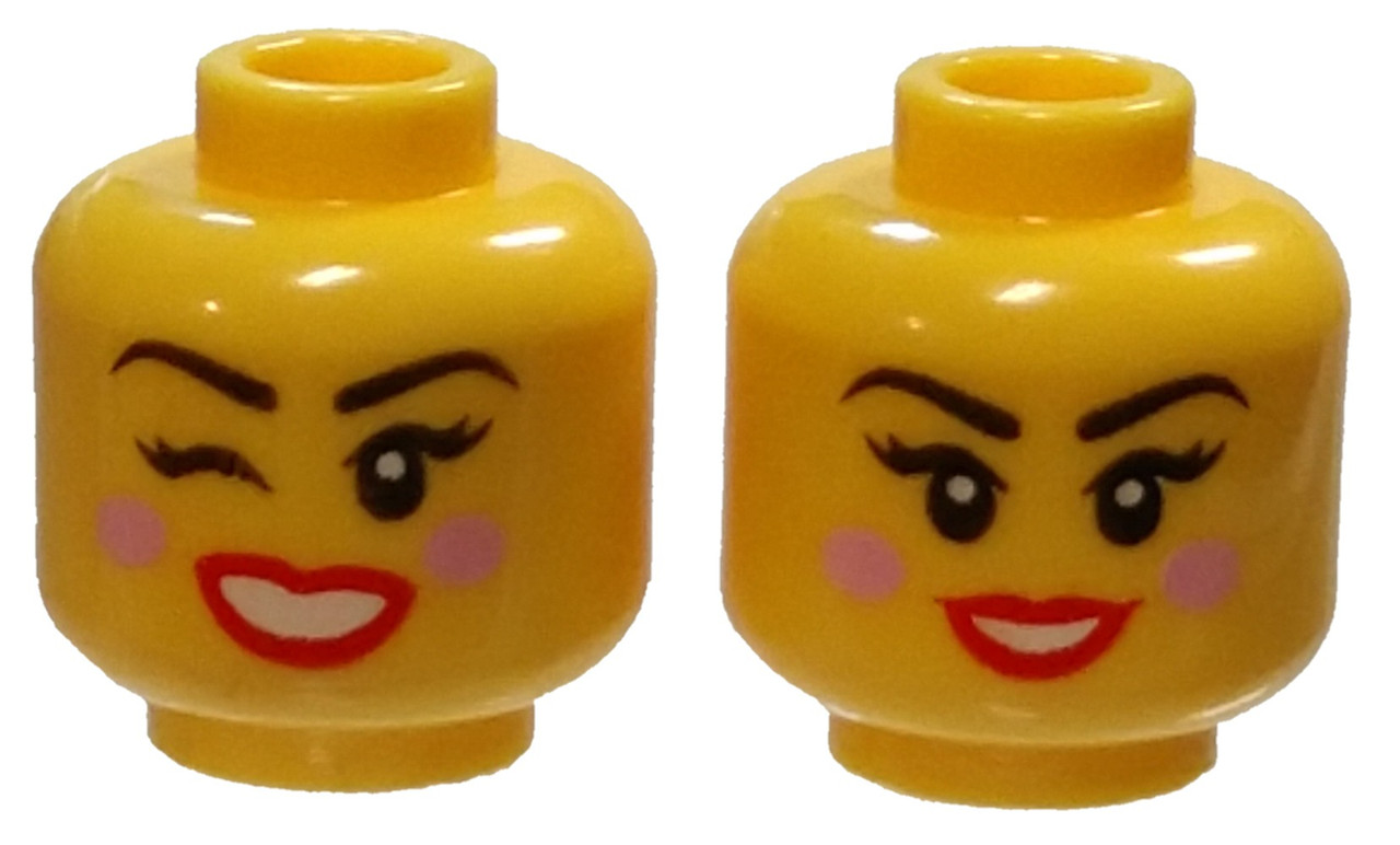Lego New Yellow Minifigure Head Female with Black Sunglasses Red Lips and Smirk
