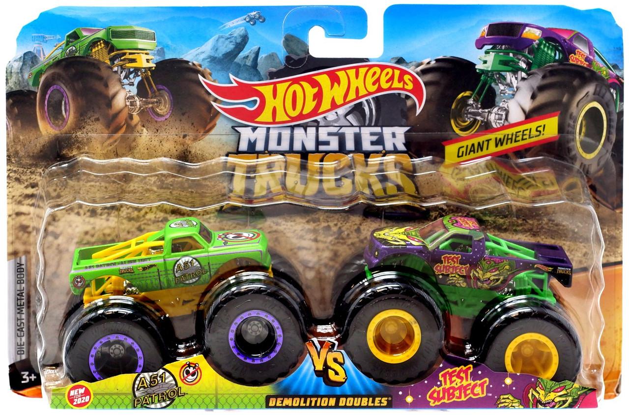 Hot Wheels Monster Trucks Demolition Doubles A51 Patrol Test Subject 164 Diecast Car 2 Pack Mattel Toys Toywiz