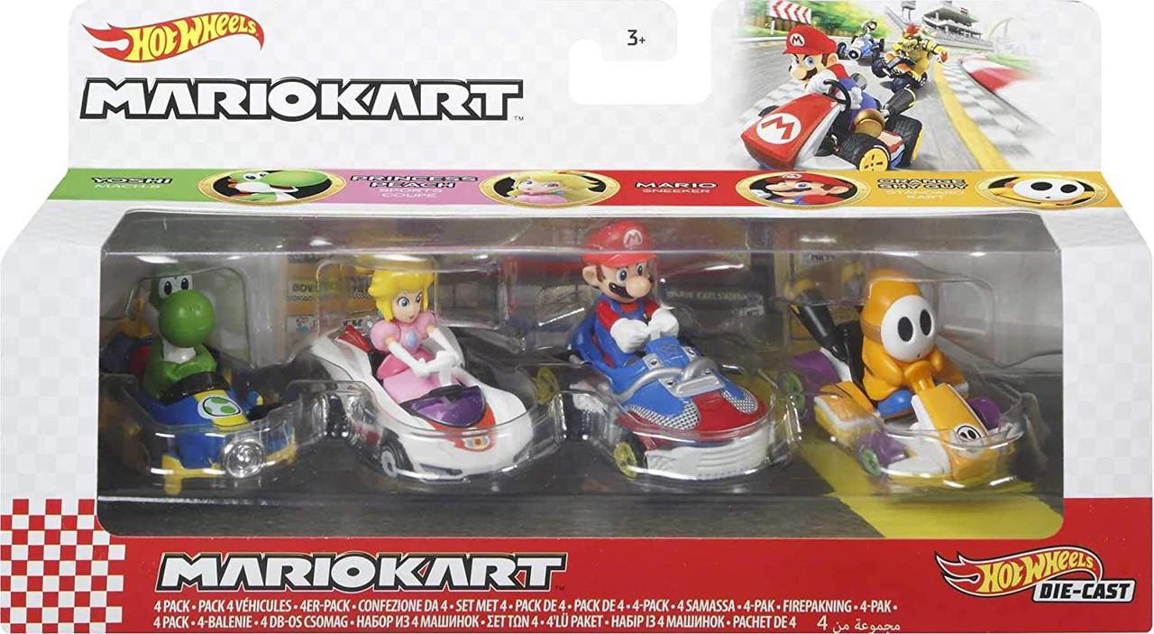 Princess Peach Bundle Diddy Kong Baby Mario Hot Wheels Mario Kart 4 Car Set- Yoshi