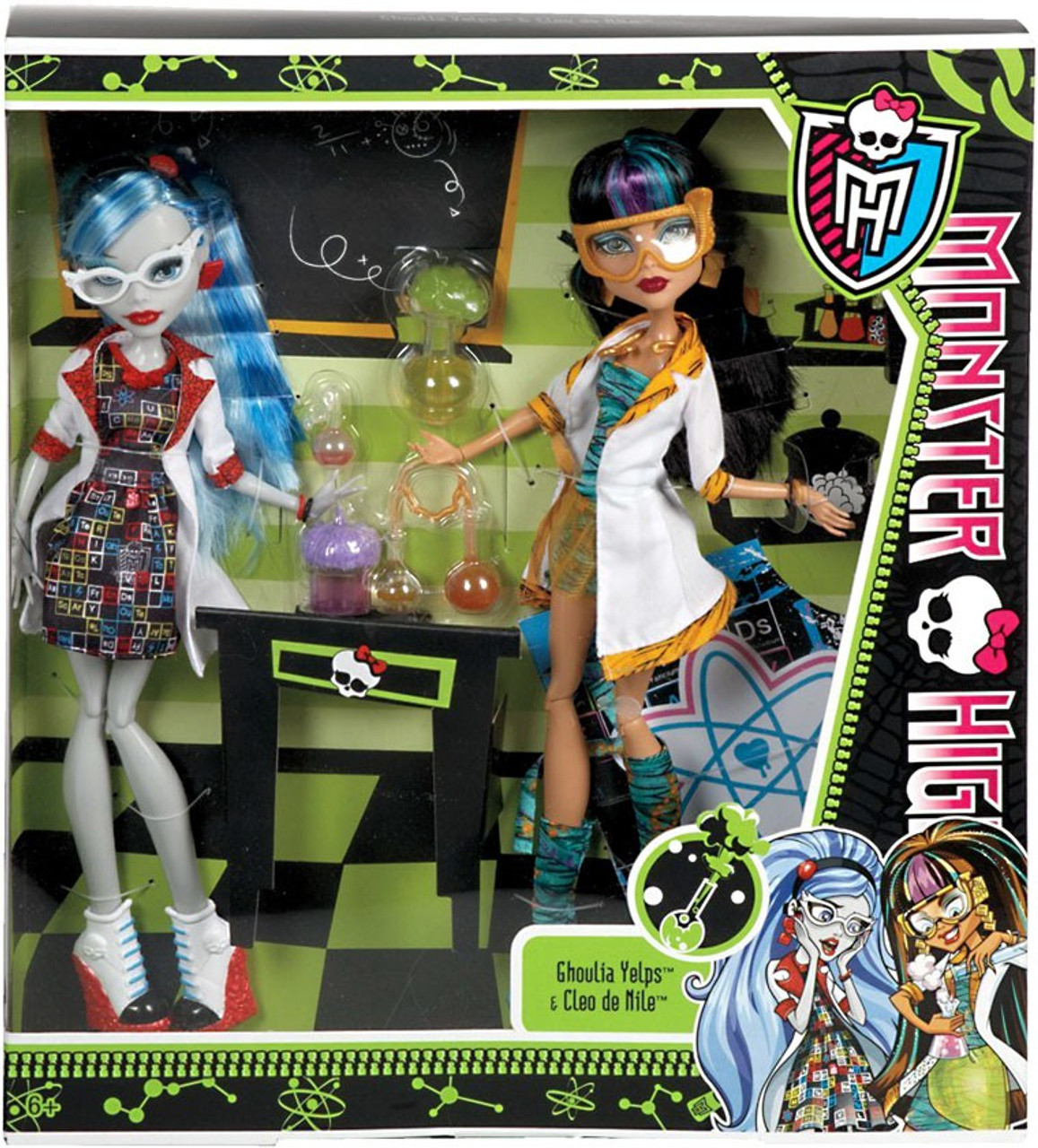 49b450fa56c3 Monster High Classroom Mad Science Lab Partners Cleo de Nile   Ghoulia  Yelps 10.5-Inch