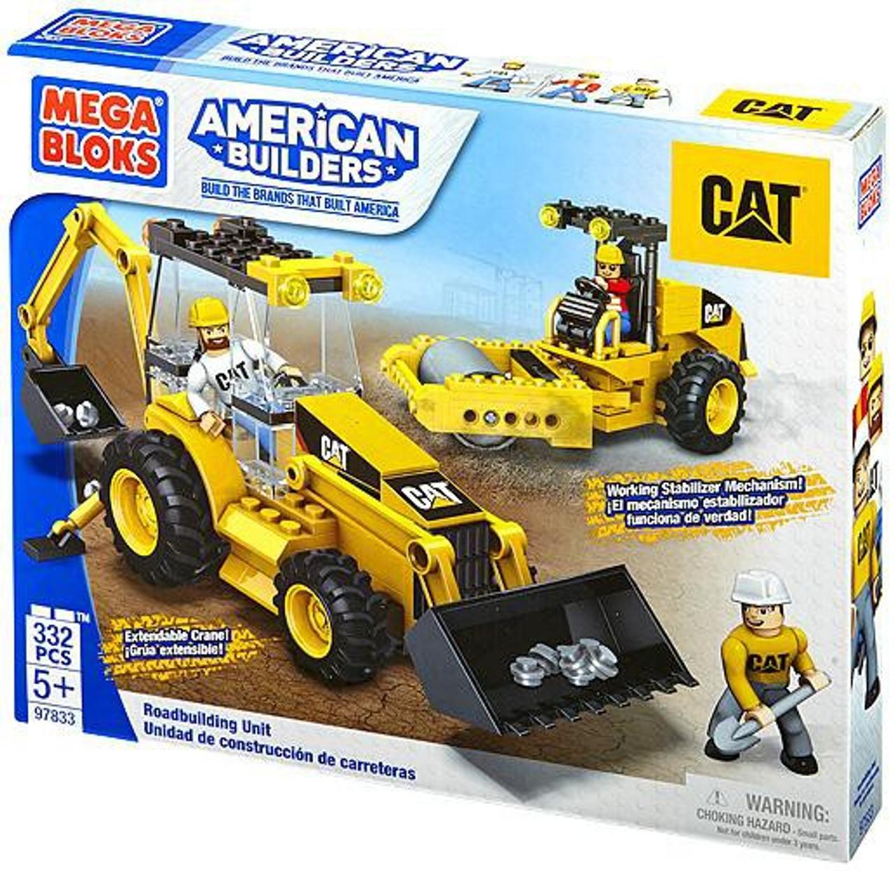 Mega Bloks American Builders Cat Roadbuilding Unit Set 97833 Toywiz