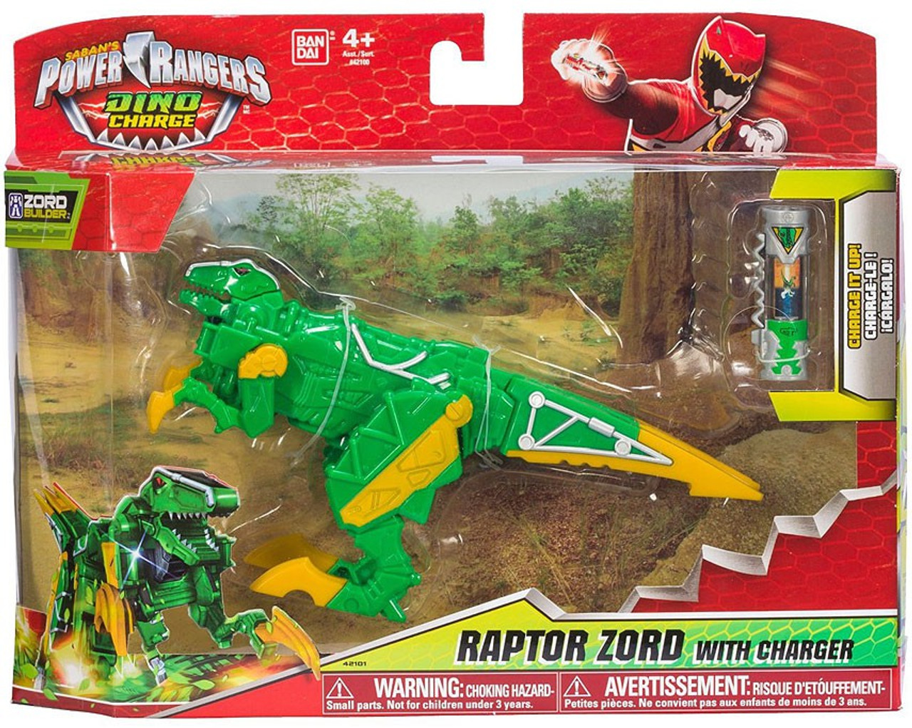 - Power Rangers Dino Charge Zord Builder Green Raptor Zord Action