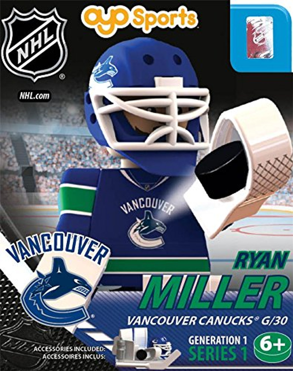 99057b3f7 NHL Vancouver Canucks NHL Generation 1 Series 1 Ryan Miller Minifigure OYO  - ToyWiz