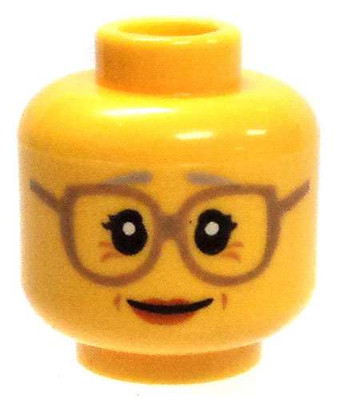 LEGO NEW YELLOW MINIFIGURE HEAD FACE WITH GLASSES OLD GRANDPA WITH WRINKLES