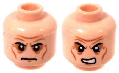 Angry LEGO Minifigure Head LIGHT FLESH Female Dual Sided Beauty Mark Neutral
