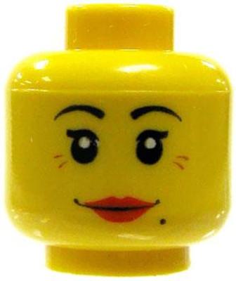 Crooked Grin LEGO Minifigure Head MEDIUM DARK FLESH Male Dual Sided Scared