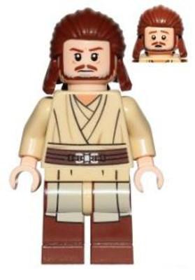 Lego LIGHT FLESH Minifigure Head OBI WAN KENOBI Headset Beard Star Wars