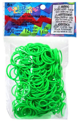 crochet Loom bands 300 pack 12 s-clips citron vert