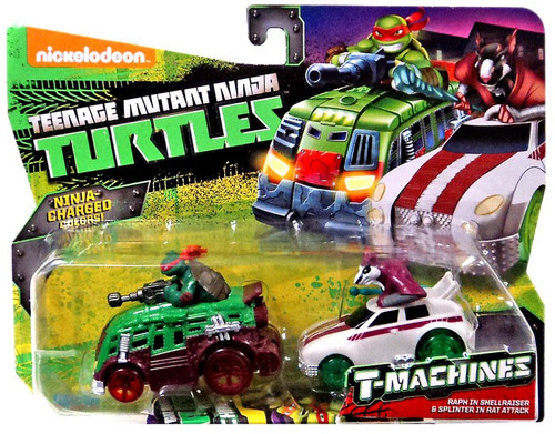 Teenage Mutant Ninja Turtles Nickelodeon T-Machines Raph in Shellraiser & Splinter in Rat Attack Diecast Car 2-Pack