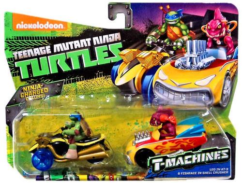 Teenage Mutant Ninja Turtles Nickelodeon T-Machines Leo in AT-3 & Fishface in Shell Crusher Diecast Car 2-Pack
