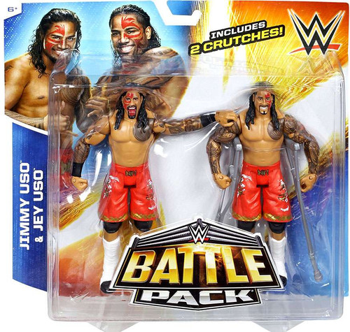 WWE Wrestling Battle Pack Series 32 Jimmy & Jey Uso Action Figure 2-Pack [2 Crutches]