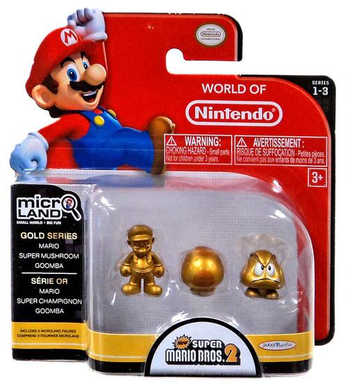 World of Nintendo New Super Mario Bros U Micro Land Series 3 Gold Mario, Super Mushroom & Goomba 1-Inch Mini Figure 3-Pack