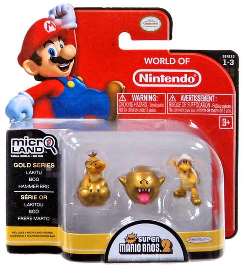 World of Nintendo New Super Mario Bros U Micro Land Series 3 Gold Lakitu, Boo & Hammer Bro 1-Inch Mini Figure 3-Pack