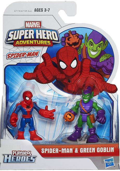 Marvel Playskool Heroes Super Hero Adventures Spider-Man & Green Goblin Action Figure 2-Pack [2015]