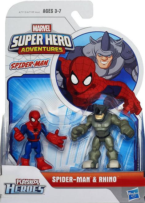 Marvel Playskool Heroes Super Hero Adventures Spider-Man & Rhino Action Figure 2-Pack
