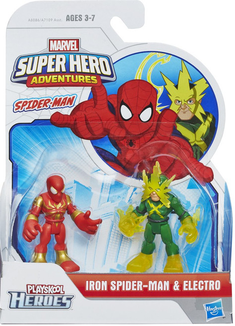 Marvel Playskool Heroes Super Hero Adventures Iron Spider-Man & Electro Action Figure 2-Pack